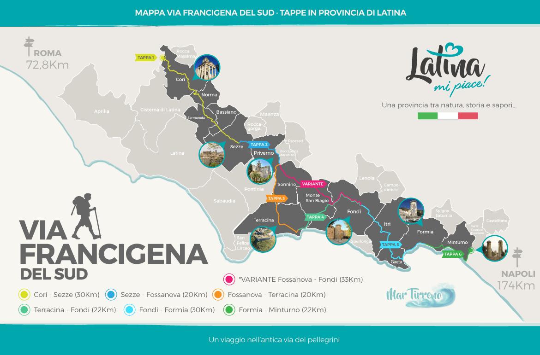 Mappa-Via-Francigena-del-Sud-tappe-in-Provincia-di-Latina